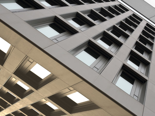 Reworked tilt photo of office building in constructivism style